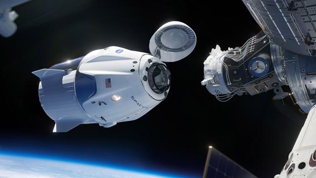 Ilustração do momento da acoplagem da nave com a estação ISS